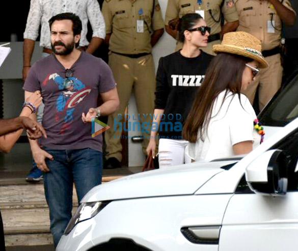 करिना कपूर खान, सैफ अली खान और करिश्मा कपूर गोवा से लौटते हुए आए नजर