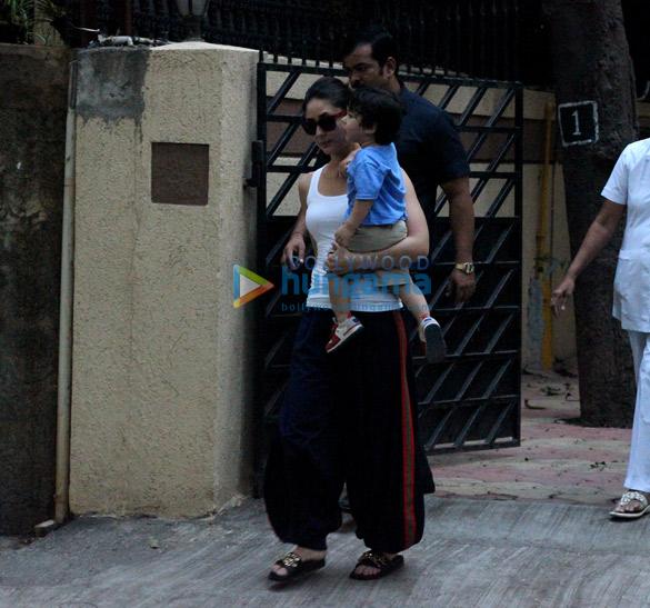 करीना कपूर खान, सैफ़ अली खान और तैमुर अली खान बांद्रा में आईं नजर